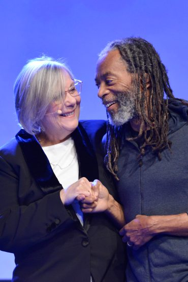 ANAHEIM, CALIFORNIA - JANUARY 18: Mary Luehrsen and Bobby McFerrin onstage at The 2020 NAMM Show on January 18, 2020 in Anaheim, California. (Photo by Jerod Harris/Getty Images for NAMM)