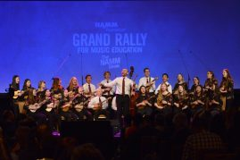 ANAHEIM, CALIFORNIA - JANUARY 18: Langley Ukulele Ensemble performs at The 2020 NAMM Show on January 18, 2020 in Anaheim, California. (Photo by Jerod Harris/Getty Images for NAMM)