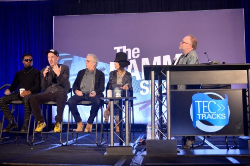 ANAHEIM, CALIFORNIA - JANUARY 18: Troy Noka, Sam Hollander, Danny Kortchmar, Linda Perry and Steve Baltin speak onstage at The 2020 NAMM Show on January 18, 2020 in Anaheim, California. (Photo by Jerod Harris/Getty Images for NAMM)