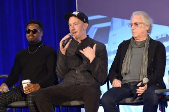 ANAHEIM, CALIFORNIA - JANUARY 18: Troy Noka, Sam Hollander and Danny Kortchmar speak onstage at The 2020 NAMM Show on January 18, 2020 in Anaheim, California. (Photo by Jerod Harris/Getty Images for NAMM)