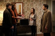 """Supernatural --""""The Future"""" -- SN1219a_0283.jpg -- Pictured (L-R): Jensen Ackles as Dean, Jared Padalecki as Sam, Courtney Ford as Kelly Kline and Misha Collins as Castiel -- Photo: Robert Falconer/The CW -- © 2017 The CW Network, LLC. All Rights Reserved"""