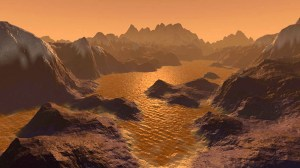 An artists impression of the lakes of Titan