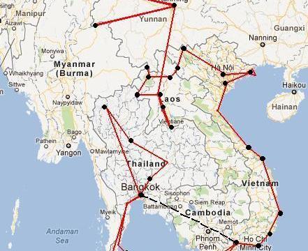 viaje6 - Tres posibles rutas para visitar el Sudeste Asiático