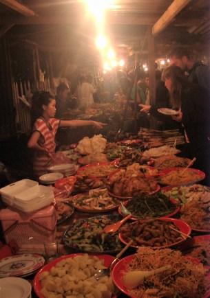 Laos Luang Prabang Buffet Night Market - The best temples in Luang Prabang