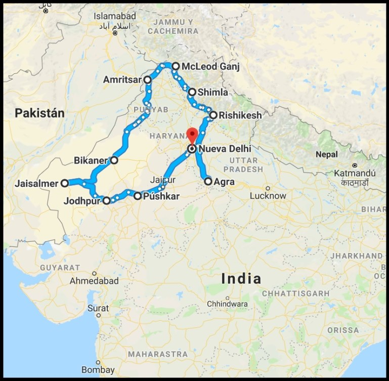 Ruta por el Norte de la India - Mapa