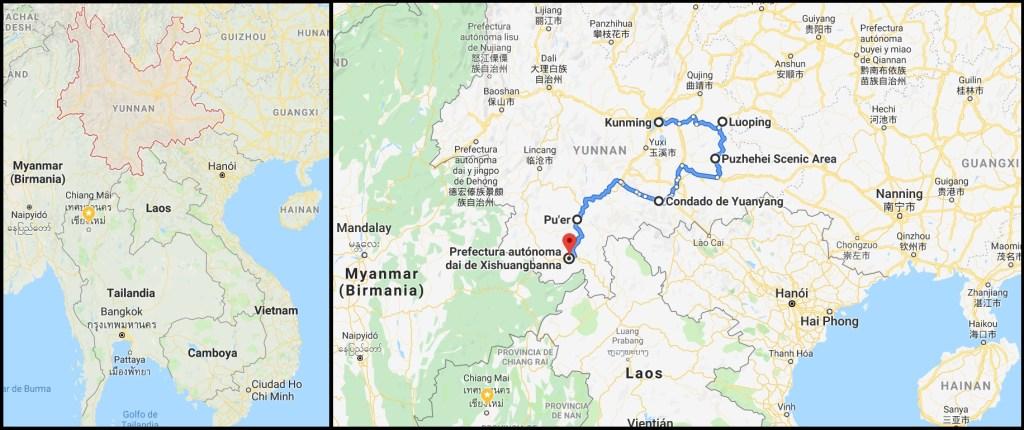Mapa Yunnan Ruta Naturaleza 1024x430 - Trip to Yunnan: 12 days in China with all included!