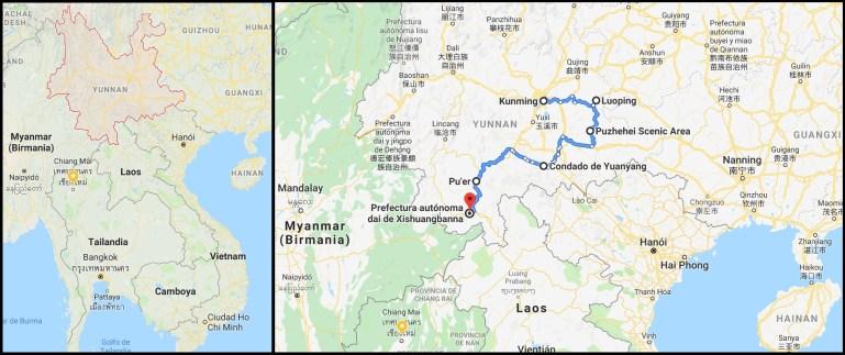 Mapa Yunnan - Ruta Naturaleza