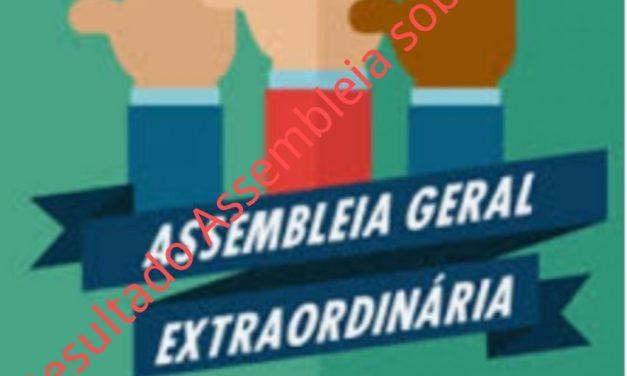 Resultado da Assembleia geral extraordinária sobre a manutenção do atual regime de escala de trabalho