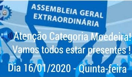 EDITAL DE CONVOCAÇÃO  ASSEMBLEIA GERAL EXTRAORDINÁRIA, DIA 16/01/2020