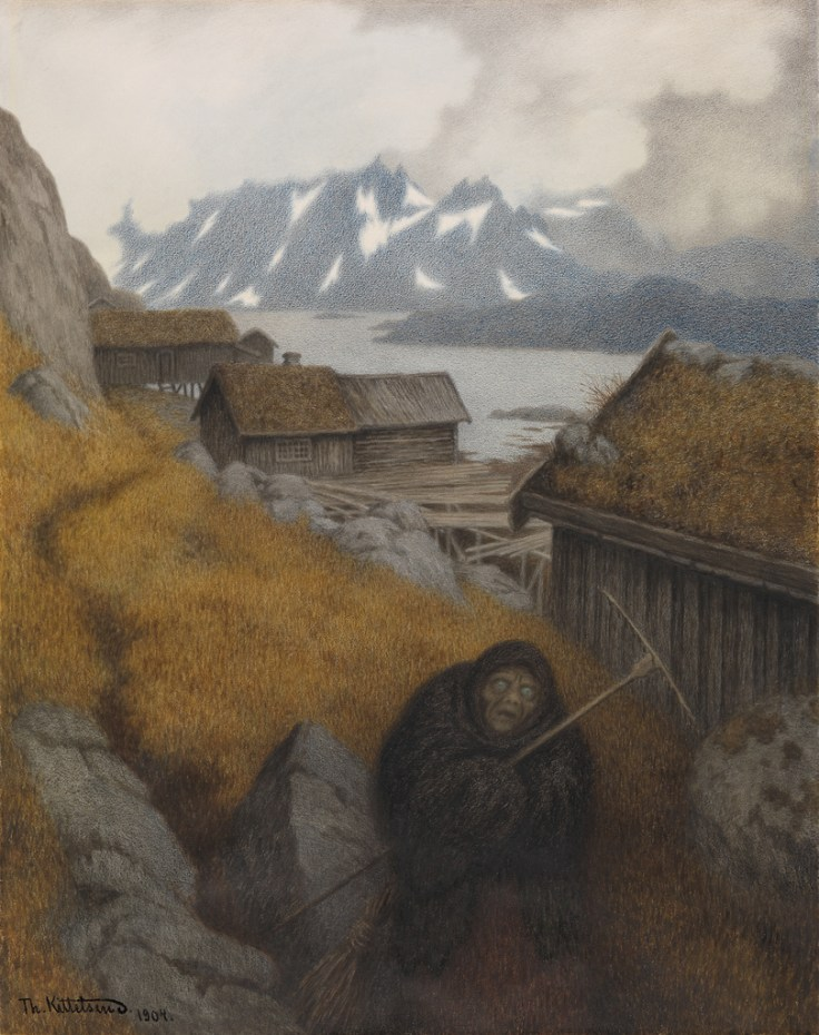 1904 She covers the whole country Theodor Kittelsen