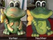 Froesche-Vorher-Nachher Gartenfigur Frosch