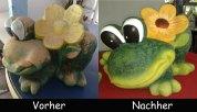 Froesche-Vorher-Nachher Frosch mit Blume