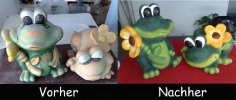 Froesche-Vorher-Nachher Frosch fuer den Garten neue Farbe