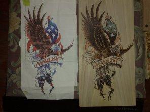 Harley-davidson adler flagge brandmalerei