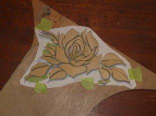 Holz Blume gesaegt