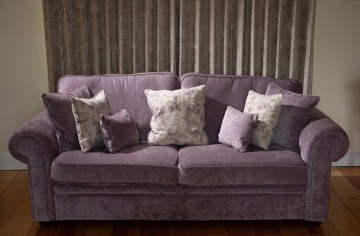 Reupholstered sofa in heather chenille fabric