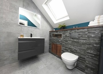 Attic bathroom design with stone tile effect