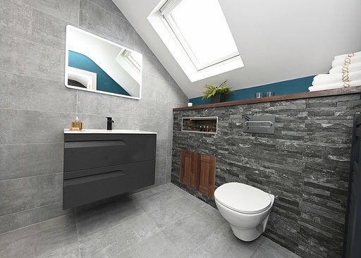 Attic bathroom design with stone tile effect