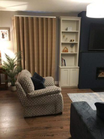 Living room design blue with burnt orange