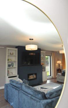 Living room design mirror view