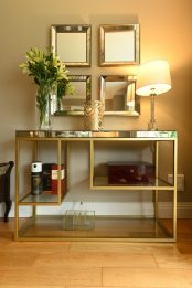 Living room console table with set of 4 rectangular mirrors glass lamp - Sinead Cassidy Design