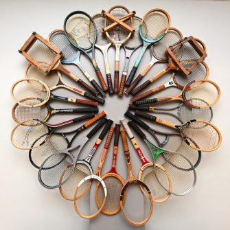Vintage Tennis racket display at Douglas Tennis Club