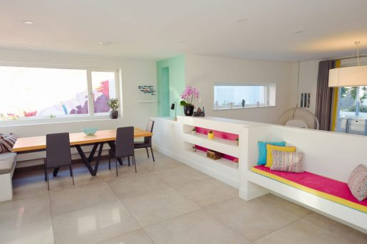 Home of the Year collaboration - open plan living with mint green and pink colour scheme