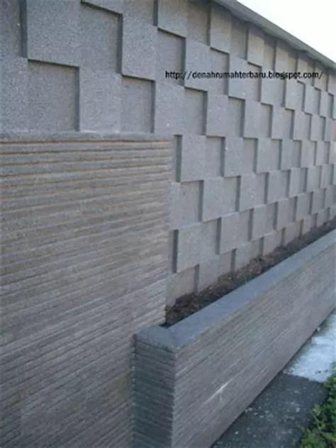 pagar rumah tembok batu alam desain denah rumah terbaru