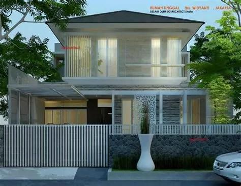 desain rumah tropis elegan aksen batu alam