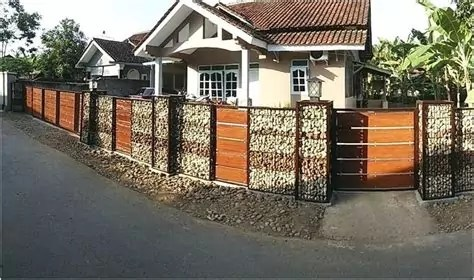 model desain pagar rumah minimalis batu alam terbaru