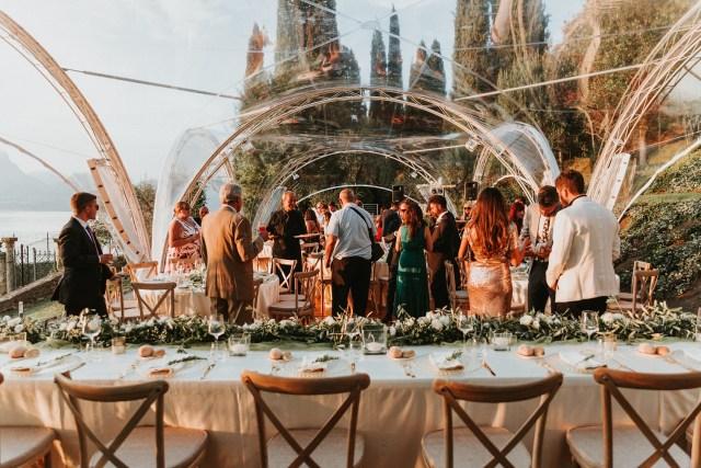 Wedding reception on Garda lake