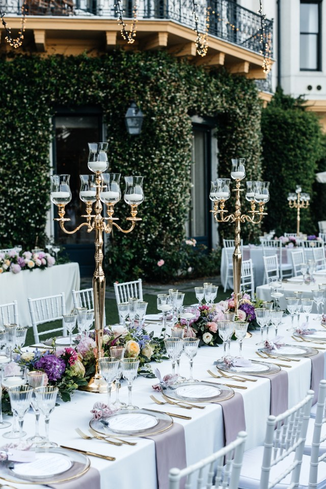 wedding table on Maggiore lake, with pink floral decors