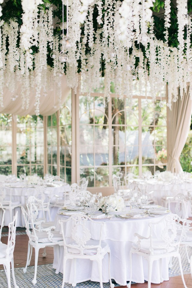 Wedding reception with white floral decorations