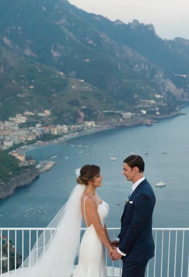 Bride and groom on Amalfi coast in Ravello