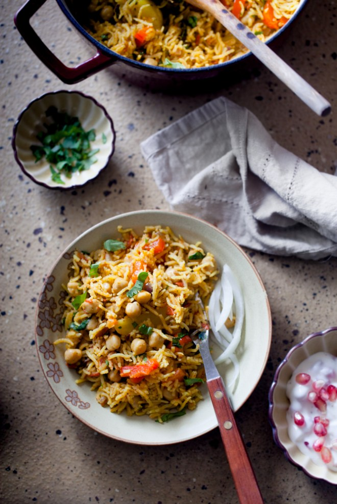 Sinfully Spicy - Chana Pulao (Ric & Chickpea Pilaf) With Pomegranate Raita(Yogurt)