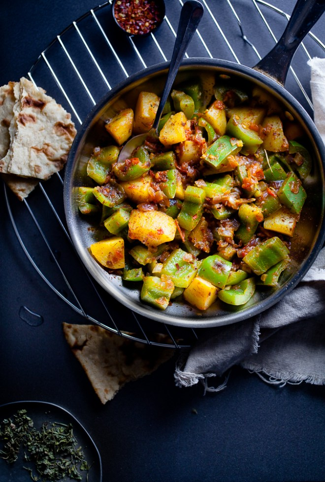 Sinfully Spicy - Shimla Mirch - Aloo (Spiced Bell Peppers & Potatoes) #vegan #glutenfree