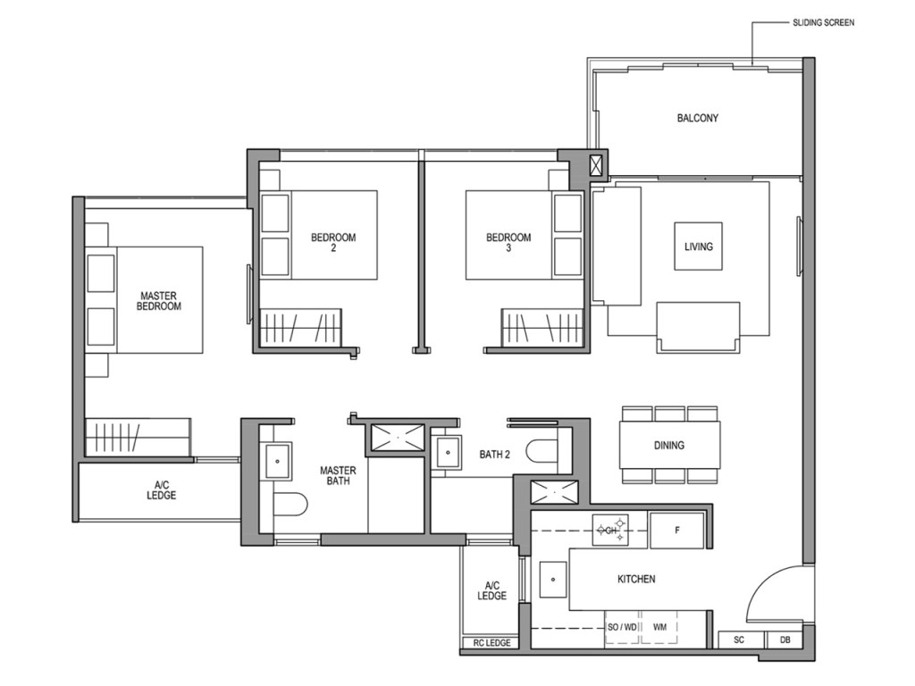 3 bedroom (1012 sqft) Floor Plan