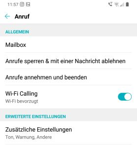 WLAN Anrufe aktivieren Android