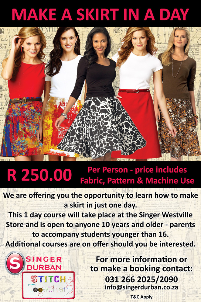 Singer Durban Make a Skirt in a Day