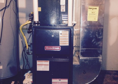 Basic Goodman 90% furnace with air conditioning.