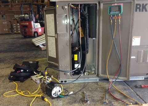 Repairing a commercial unit that was damaged in shipping.