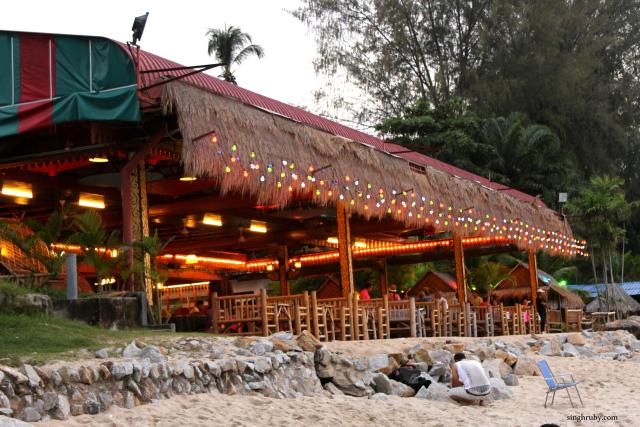 A beautiful shack, all lit up.