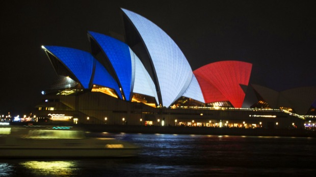 sydney opera house red white blue