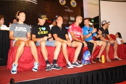 League of pros during a press conference.