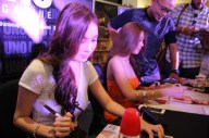 The gorgeous ladies signing our complimentary copies of their magazines.