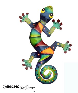 Haitian metal wall art gecko lizard