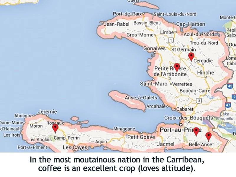 Haiti coffee sector map