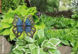 blue butterfly garden stake, Haiti