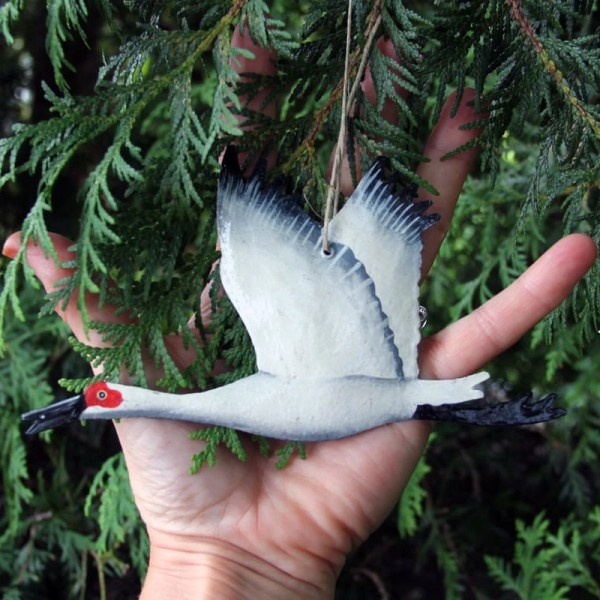 Hand Painted Sandhill Amp Whooping Crane Christmas Ornaments
