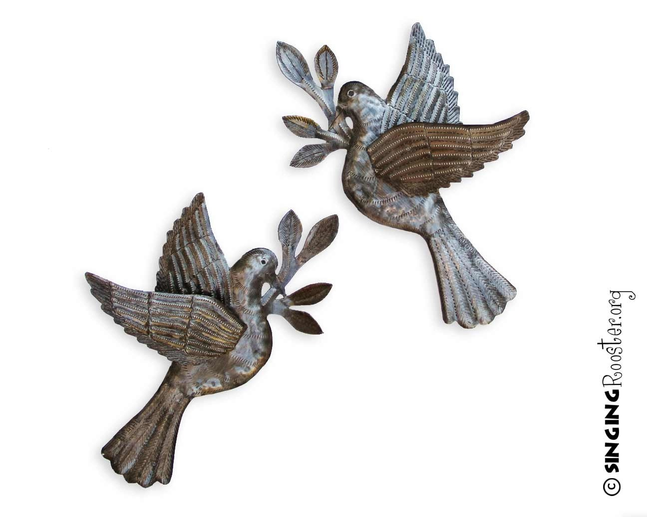Perfect Peace Dove Metal Wall Art from Haiti via Singing Rooster.org MS52